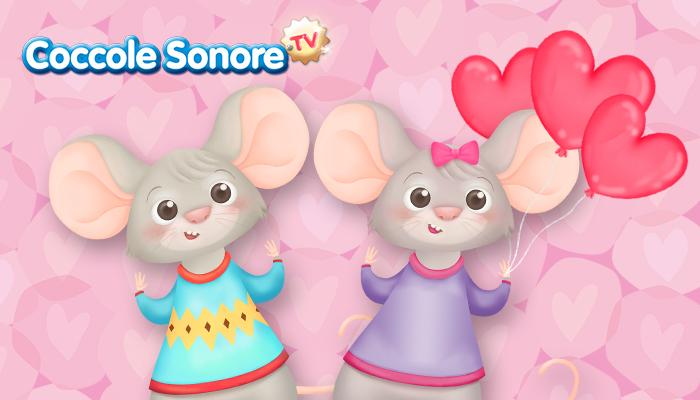 disegno di due topini innamorati con dei palloncini a forma di cuore