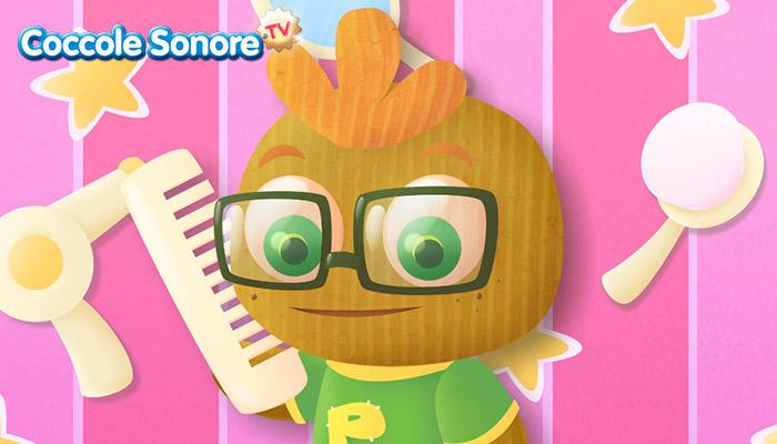 Pin pon, personaggio di cartone che si pettina, Coccole Sonore