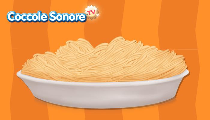 disegna degli spaghetti alla carbonara