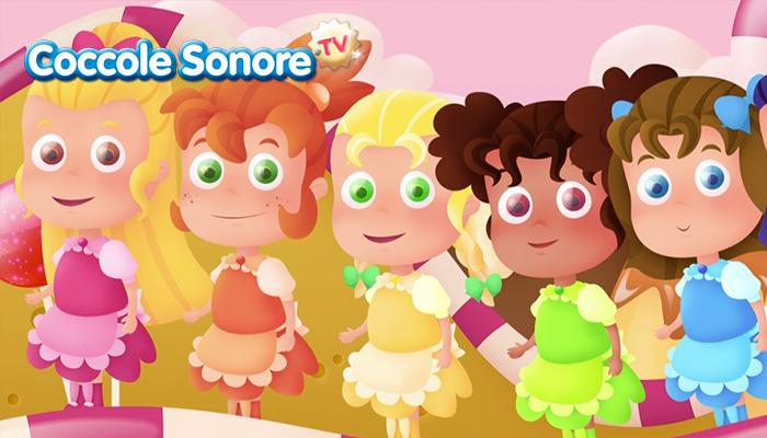 disegno di cinque bambine con i vestiti colorati