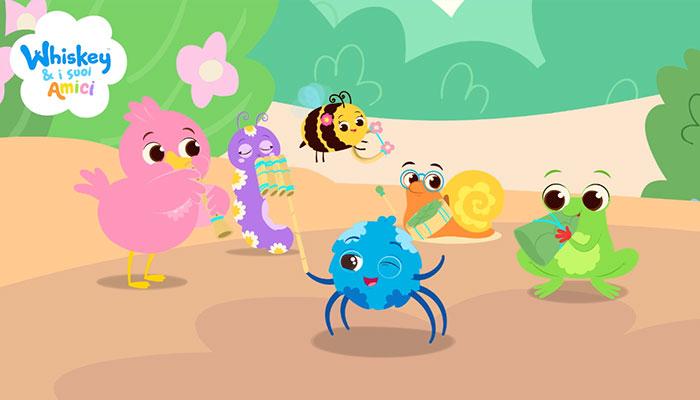 whiskey il ragnetto dirige gli amici Pepe l'anatroccolo, Tutù la bruchetta, Bibì l'ape, Dado il lumachino e Hop Hop il ranocchio, che suonano vari strumenti musicali, serie Tv Whsikey e i suoi amici